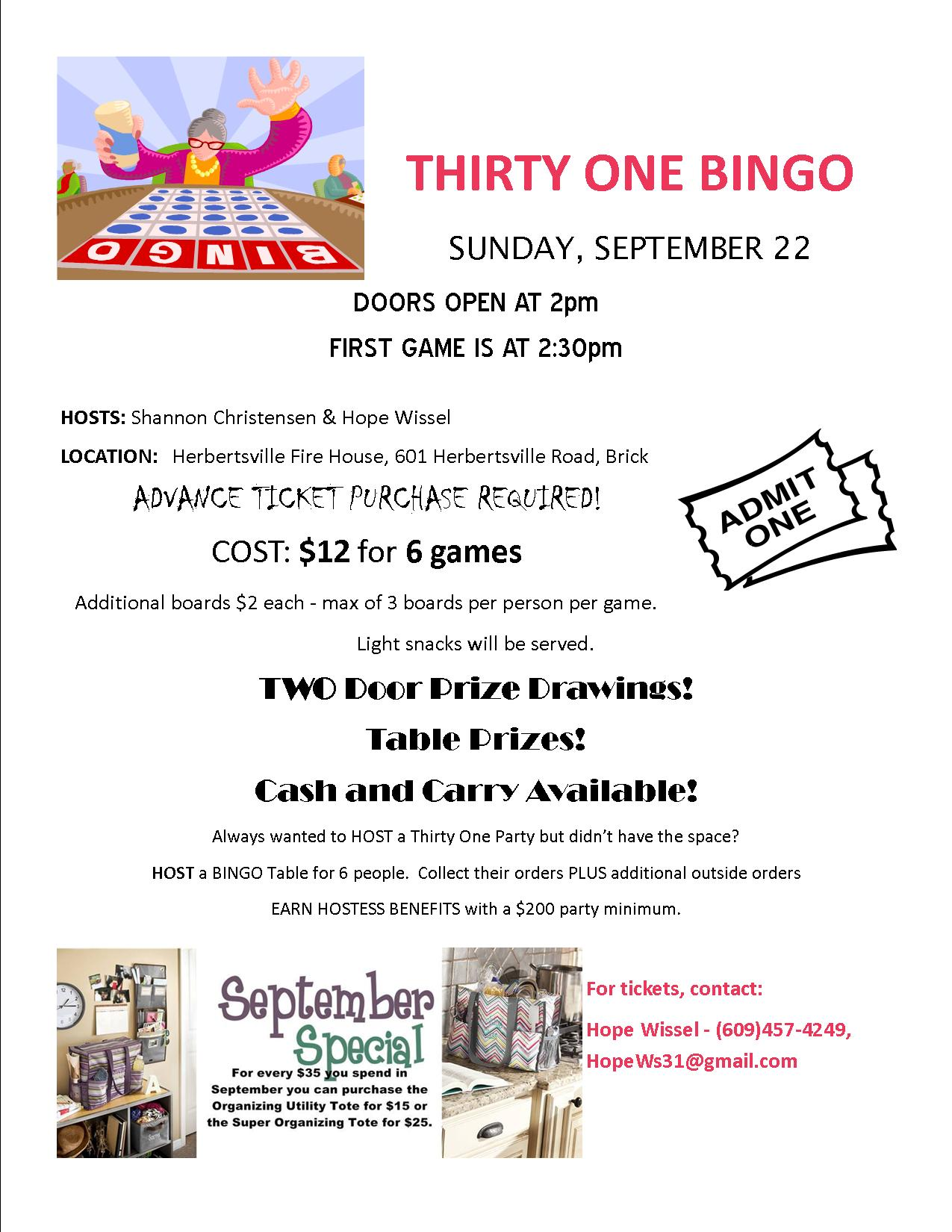 BINGO Thirty One Style | Hope Wissel